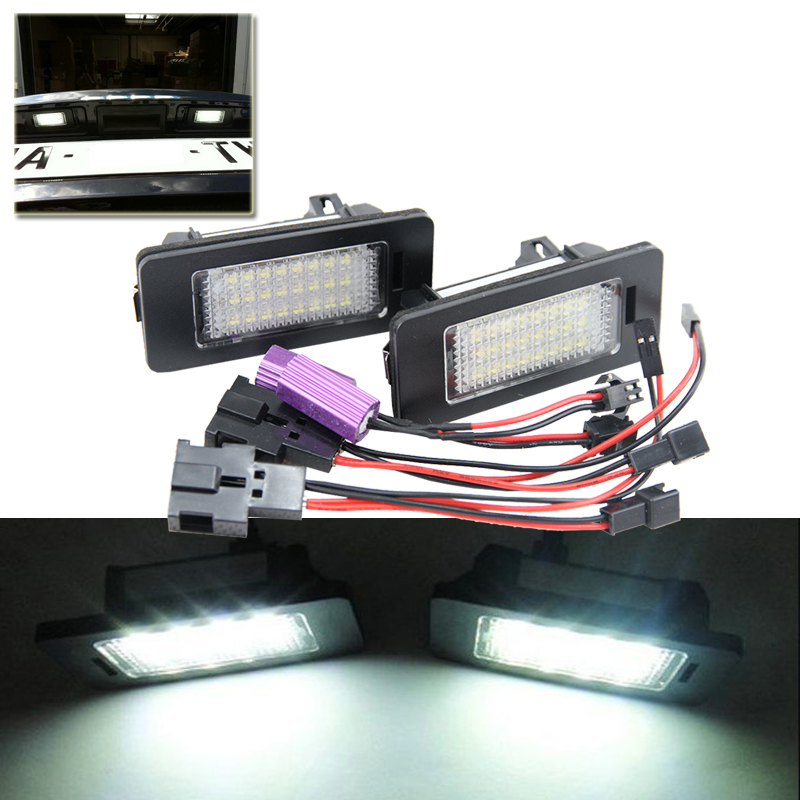 Direct Fit Xenon White Auto Led Number License Plate Lights Lamp For Audi A4 S4 A5 S5 RS5 A6 A7 TT Q5 For VW Passat Car Styling купить