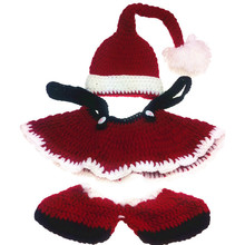Claus Baby Santa Costume Newborn Santa Suit Baby Photography Props Christmas 1st Birthday Outfits Crochet Baby Sweater Sets