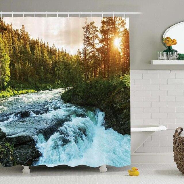 Nature Shower Curtain House Decor River In Norway Sunrise Sunbeams Through Pine Trees Springtime Landscape Scenic Art Print