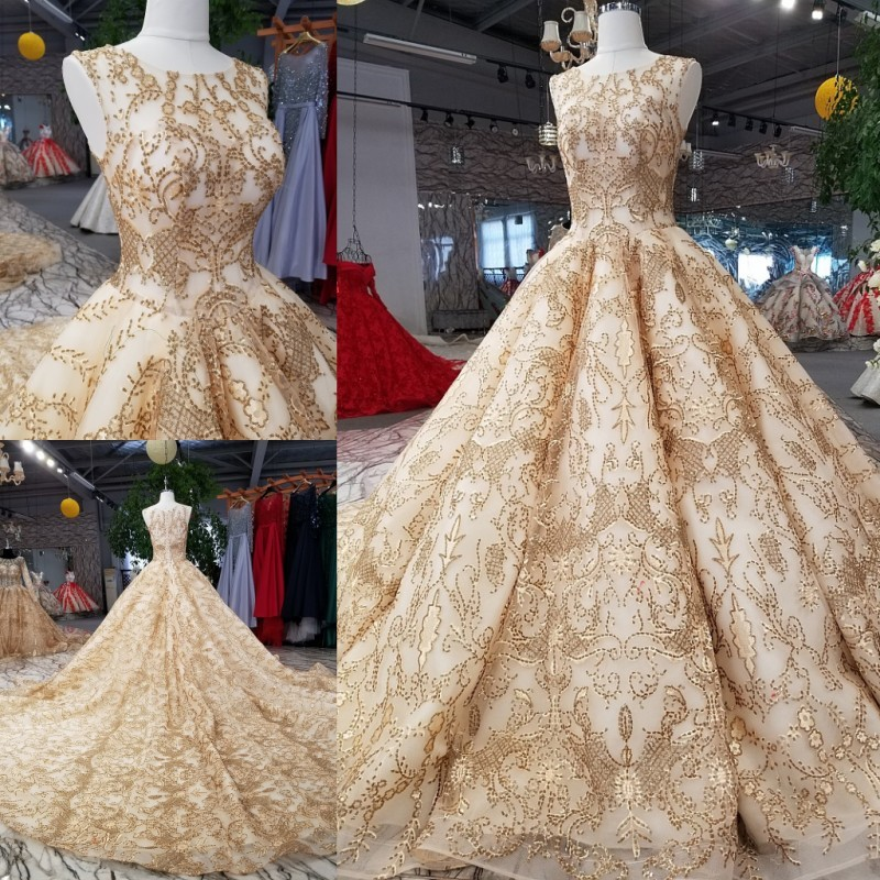Rose Gold Evening Dress Bling Bling Sequins Bridal Ball Gown 2018 Gold Bridal Formal Gowns Arabic Style Real Платье