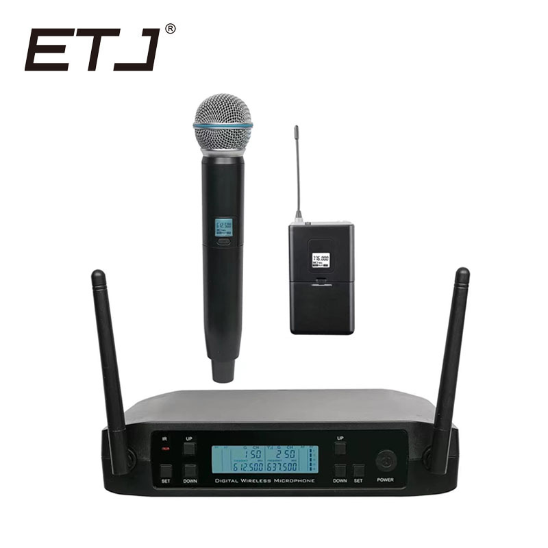 ETJ Brand UHF Dual Wireless Microphone System GLXD24/BETA58 GLXD4 GLXD2 MIC For Church Stage More Channel Than SLX24 PGX24 high end uhf 8x50 channel goose neck desk wireless conference microphones system for meeting room