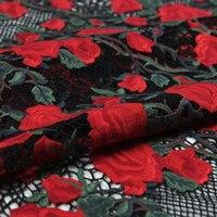 Química pesada Malla de Encaje, Bordado Floral Tela de Ojal, Caliente Rosa, Rojo Chino, Costura, Vestido de La Manera, de la boda, arte Por El Patio