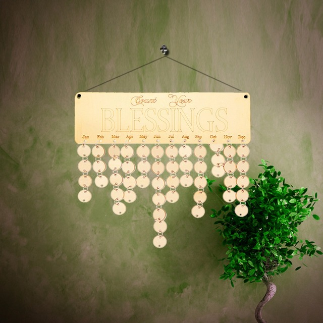 DIY Wooden Count Your Blessings Calendar Anniversary Board Sign Wall ...