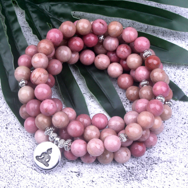 Natural Rhodochrosite Stone Beaded Charm Bracelet/ Necklace 6