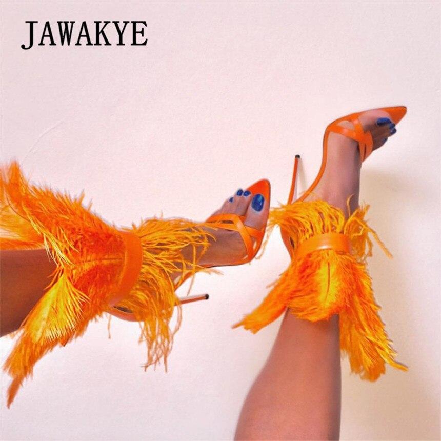 New Runway Feather heels Sandals Women flip flops Super High Heels Stilettos Orange White Black Party Fur Shoes zapatos de mujer-in High Heels from Shoes    1