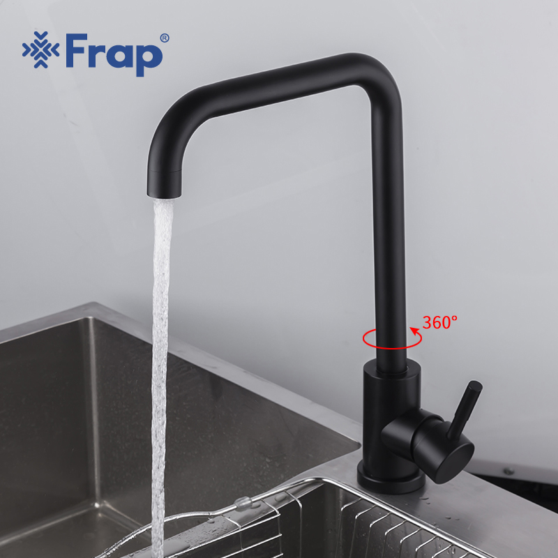 Frap Stainless Steel Kitchen Faucet Black Spray Paint Kitchen Sink Faucet Cold & Hot Water Mixer Torneira Para Cozinha Y40001/3
