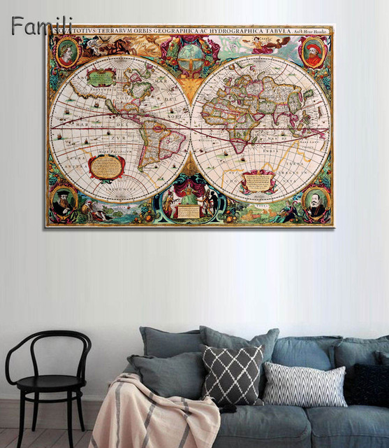 Hot sale classic vintage world map no frame canvas painting art hot sale classic vintage world map no frame canvas painting art vintage poster wall picture nordic gumiabroncs Gallery