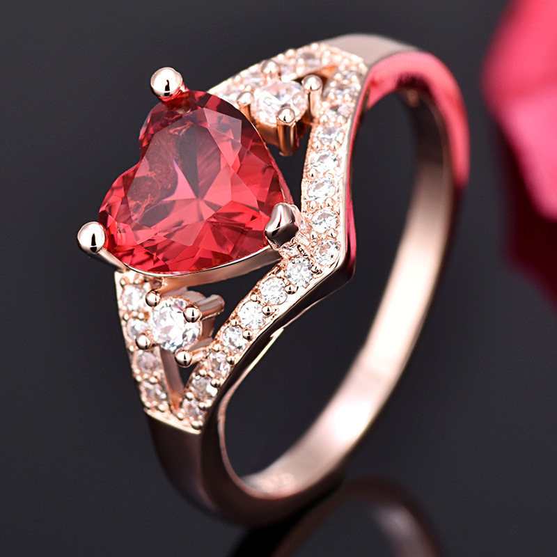 Love Heart-Shaped rRose Red Crystal Zircon ring For Women Gift Drop Shipping Jewelry 2