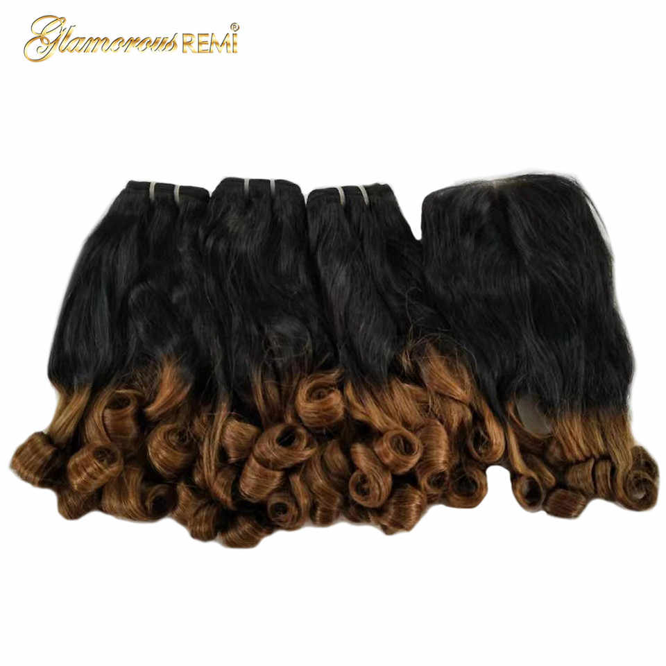 Funimi Hair Ombre Color Bouncy Curl 3 Bundles With 4x4 Closure 1b/30 Human Remi Hair Funimi Extensions Indian Double Drown Hair