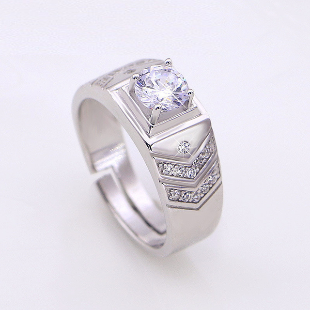 YINHED Brand Wedding Rings For Men 925 Sterling Silver Moissanite Ring Cubic Zirconia CZ Engagement Jewelry
