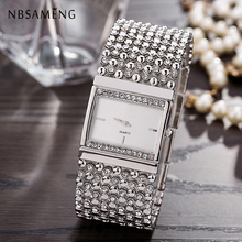 New Hot Fashion Women Luxury Watch Noble Square Dial Crystal Wrist Quartz Watch Stainless Steel Gold retro Silver Clock LZ2231 noble lady crystal quartz wrist watch white strap