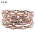 Kelitch Bohemia Summer Jewelry Handmade High Quality Cool Multilayers Seed Beads Stone Wrap Cuff Bracelets For Women Gifts