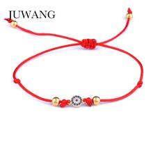 bfeeaa6804eb JUWANG ronda CZ azul de mal de ojo pulsera del encanto para las mujeres  ajustable rojo cuerda pulseras de regalo de la joyería a.