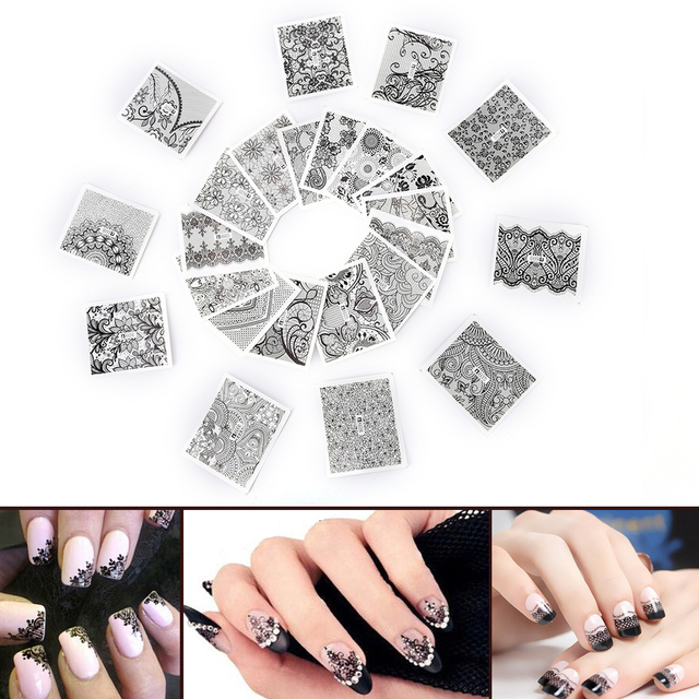 24 Sheets Sexy Nail Tips Decals Black Lace Nail Art Flower Water