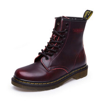 New British Style Genuine Leather Martin Boots Vintage Women Brand Designer Motorcycle Boots Autumn Winter Shoes