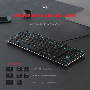 HAVIT Mechanical Keyboard 87 Keys Ultra Low Axis Metal Keyboard Wired USB Mini Gaming Keyboard Blue Switches for PC HV-KB390L 6