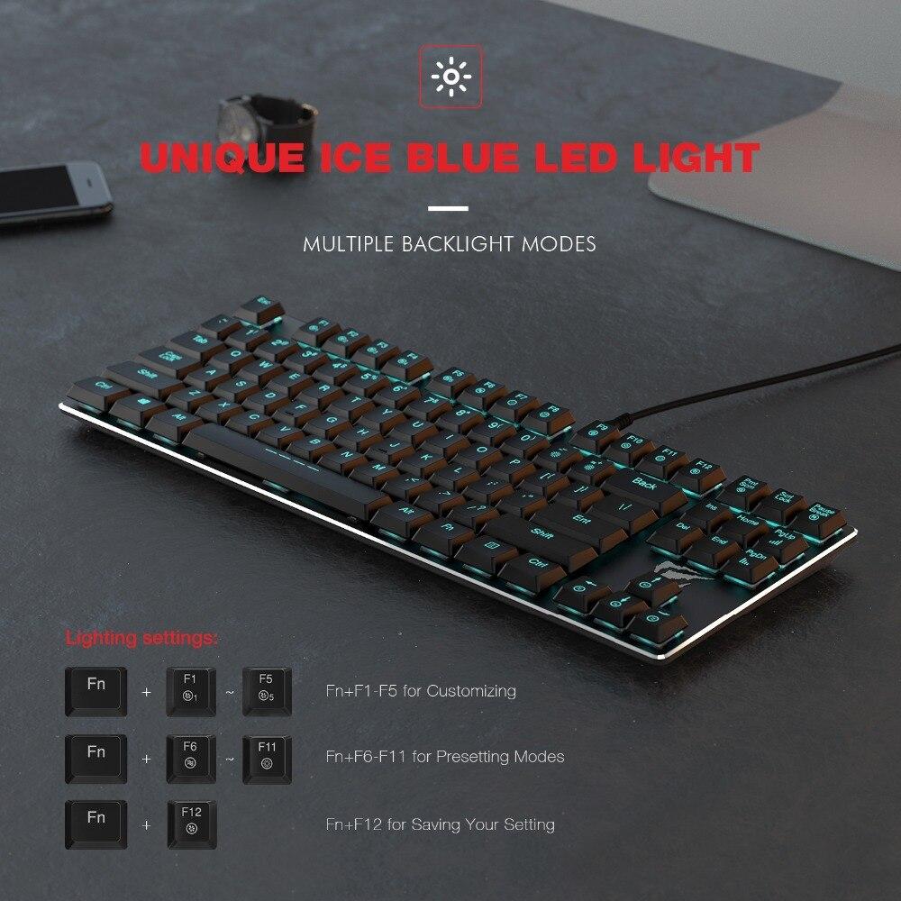 HAVIT Mechanical Keyboard 87 Keys Ultra Low Axis Metal Keyboard Wired USB Mini Gaming Keyboard Blue Switches for PC HV-KB390L