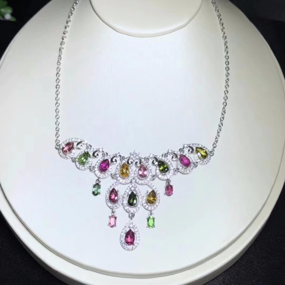Uloveido Women Tourmaline Multicolor Gemstone Pendant Necklace, Women Anniversary 925 Sterling Silver Jewelry Necklace FN323