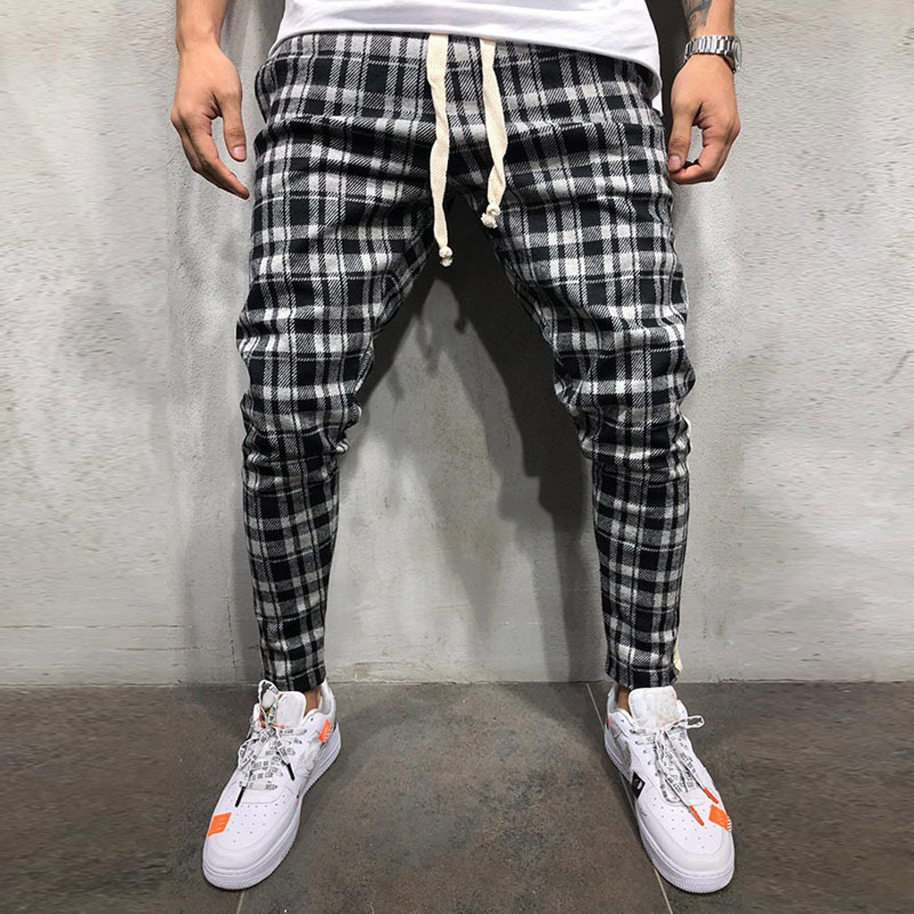 men pants casual Pencil Pants cargo pants men Fashion Casual Breathable Men's Plaid Straps Trousers Y618