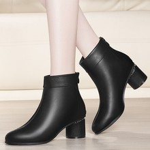 цена на New Europe Brand Women Med High Heels Boots Round Toe Autumn Boots Black Genuine Leather Ankle Party Booties Shoes YG-A0203