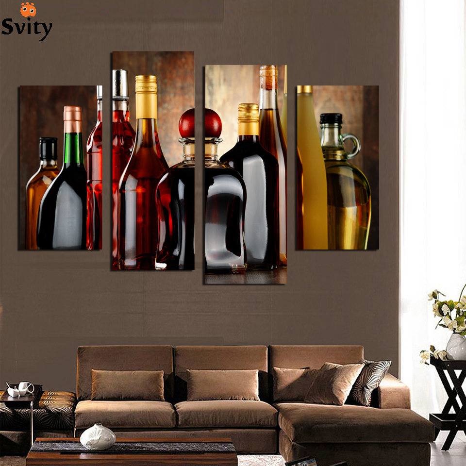 Online buy wholesale oil painting wine bottle from china oil painting wine bottle wholesalers - Cuadros para el comedor ...