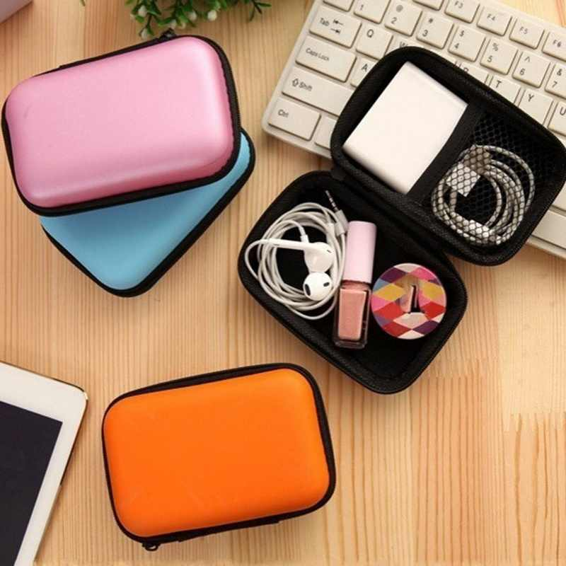 Portable Mini Dompet Koin Dompet Ritsleting Earphone Kawat Headphone Case USB Kabel Casing Organizer Carte Earbud Tas