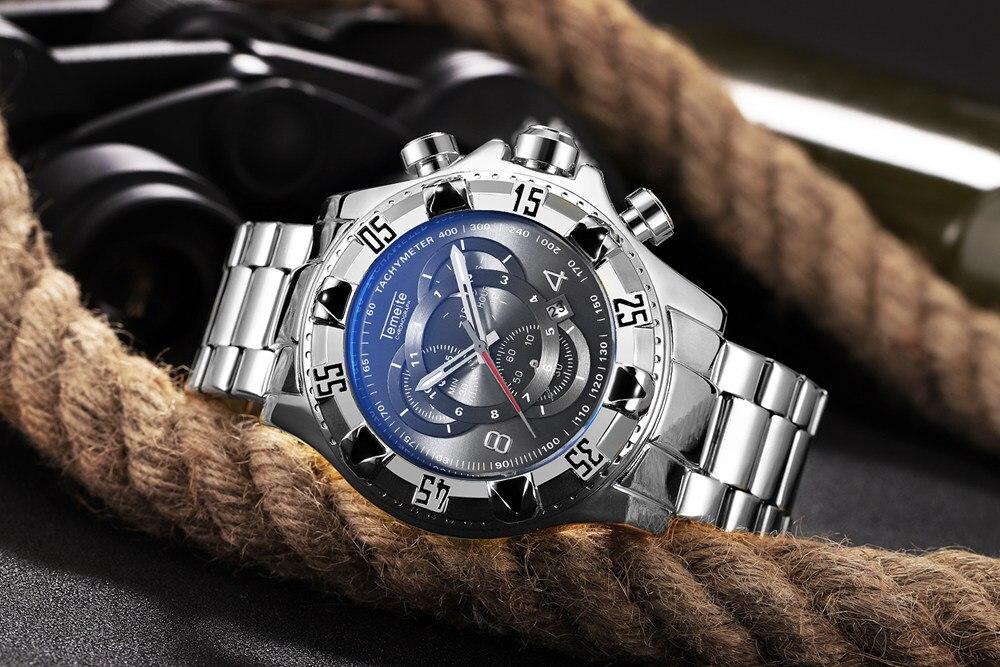 19 Top Brand Luxury Mens Oversize Watch Gold Business Steel Quartz Clock Waterproof Sport Military Chronograph Male Wristwatch 35