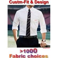 Dopasowane męskie ubranie koszule 2018 Custom Made biała koszula męska z długim rękawem sukienka ślubna męska koszulka Homme Manche Longue De Luxe