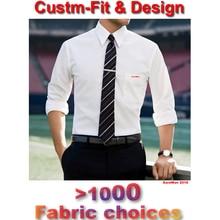 Tailored Mens Dress Shirts 2018 Custom Made White Long Sleeve Mens Dress Shirt Wedding Men Chemise Homme Manche Longue De Luxe