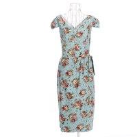 Panie retro vintage inspired projekt damska suknie niebieski odzież druku połowy łydki długość długie sukienki pinup pinup 50-pin 60-tych xxl