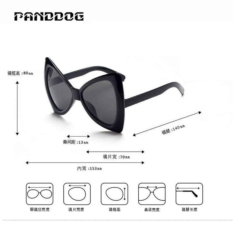 PANDDOG Brand design Sunglasses fashion Triangle frame oversize ...