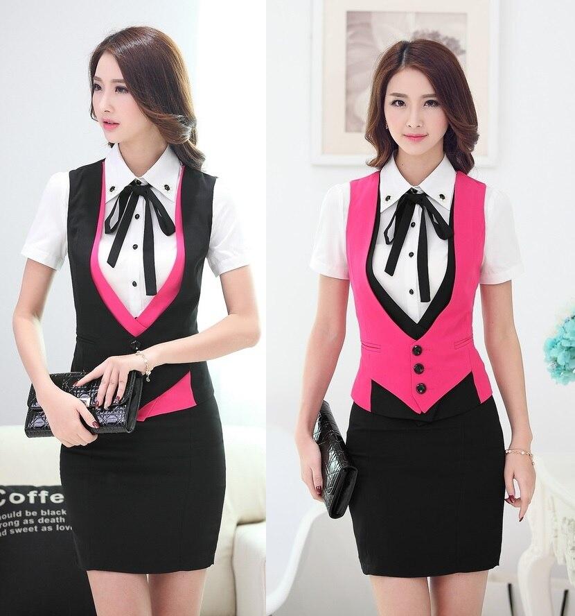 985d74a4c Formal elegante 2015 de negocios de verano ropa de trabajo trajes chaleco +  falda de oficina mujer uniformes conjunto trajes envío gratis en Trajes de  falda ...