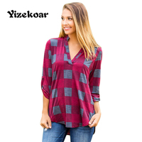 Yizekoar 2018 New Arrival Autumn Women's Casual Orange Burgundy Gray Plaid Long Sleeve V-Neck Preppy Blouse
