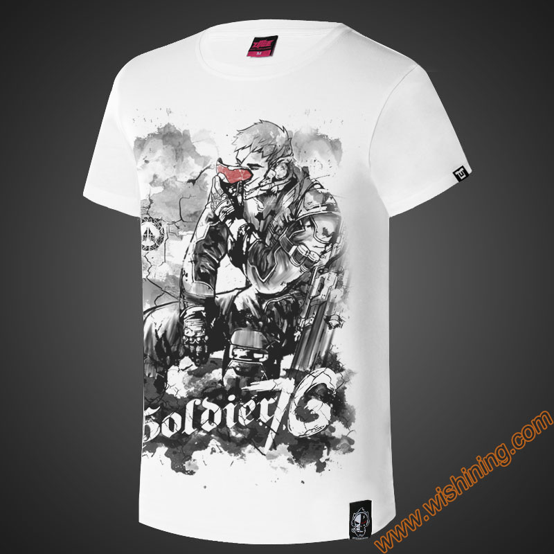 Ink Print OW Soldier 76 T-shirt OW Game Hero SOldier76 Character Tee Shirt white Plus Size 3XL 4XL Tshirt