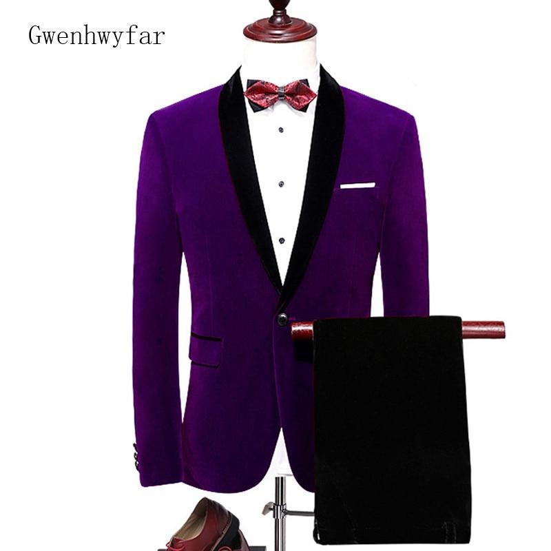 7a9397595 Mens Pantalones Moda Novio Nueva Trajes Piezas Hombres borgoña Prom Con púrpura  Púrpura 2 Traje Chaqueta Gwenhwyfar dark Smoking Terciopelo ...