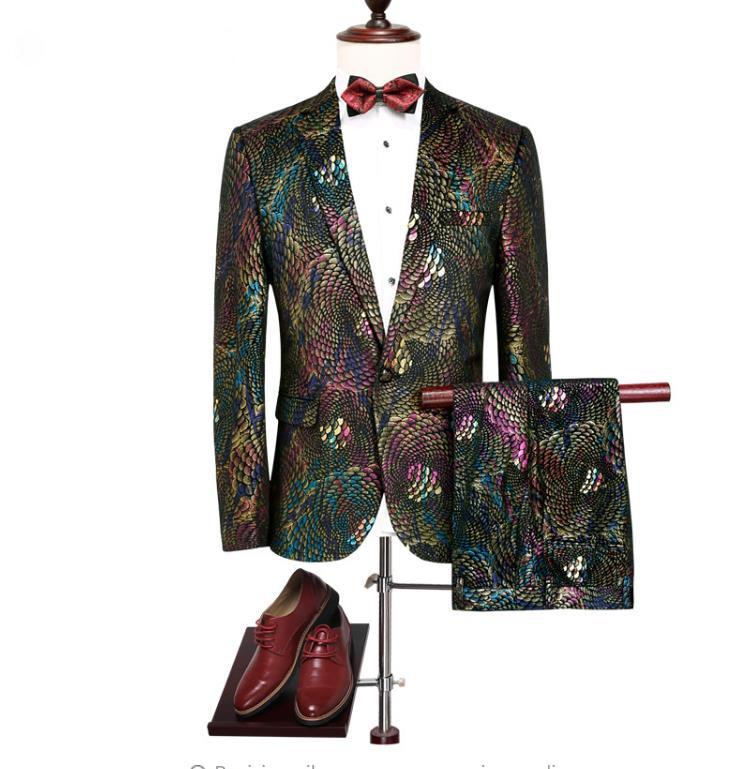 Jacket+Pant  2019 Spring Men's Suit Slim Fit Fashion Casual Wedding Dress Suits Man Business Men Coat Blazer Size M-4XL