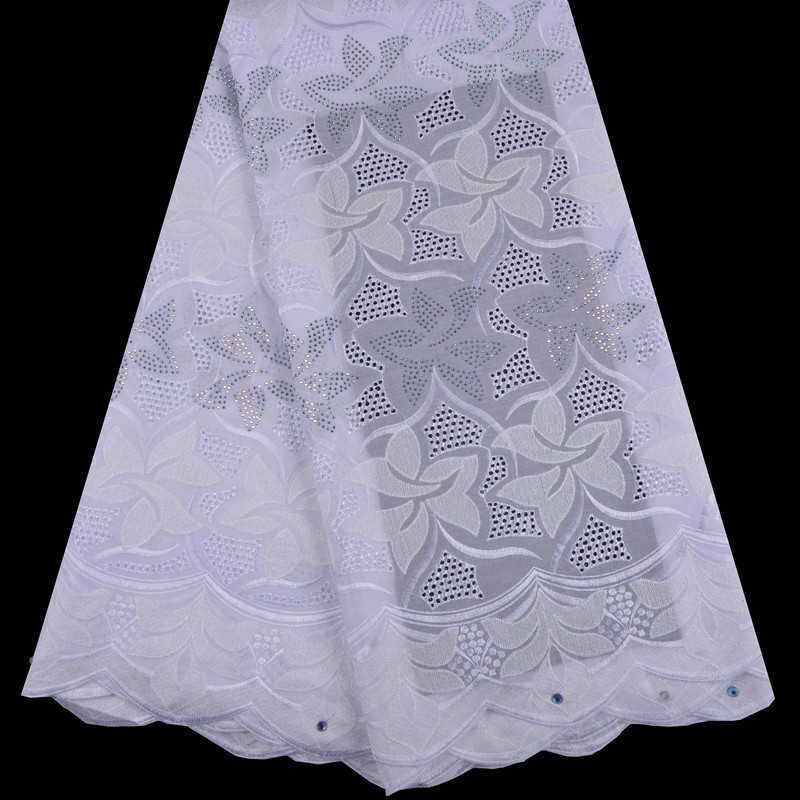 High Quality Swiss Voile Lace 2018 African Pure White Voile Cotton Lace Fabric With Stones Nigerian Style For Party Dress S1360