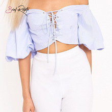 Brief Relate Blue Stripe Tie Off Shoulder Tops Sleeve Women Blouse Casual Sexy Top Shirt Strapless Party Wear