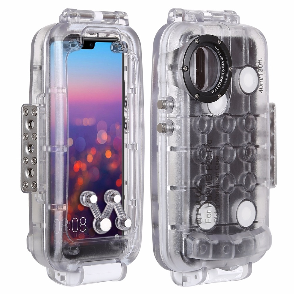 PULUZ 40m / 130ft P20 Pro Waterproof Diving Housing Photo Video Taking Underwater Cover Case for Huawei P20 / P20 Pro CasePULUZ 40m / 130ft P20 Pro Waterproof Diving Housing Photo Video Taking Underwater Cover Case for Huawei P20 / P20 Pro Case