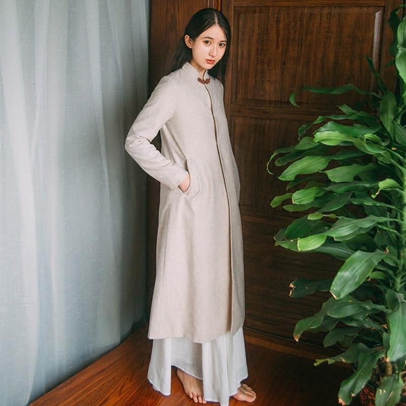 Automne Bouton Méditation Style Thé Femmes Zen Couleur Longues Chinois Couleurs Plaque Beige Nouvelle Stand Rétro Outer Manches rxFvwqrB0