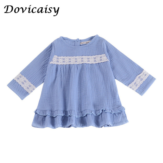28f69daf5e Lovely Toddler Kids Newborn Baby Girls Dress Denim lace Printed Clothes  Ruffle Princess Party Tulle Long Sleeve Dresses