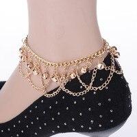 Fashion Women's bell Tassel Chain Anklet Ankle Bracelet Barefoot Sandal Beach Foot Jewelry Gold