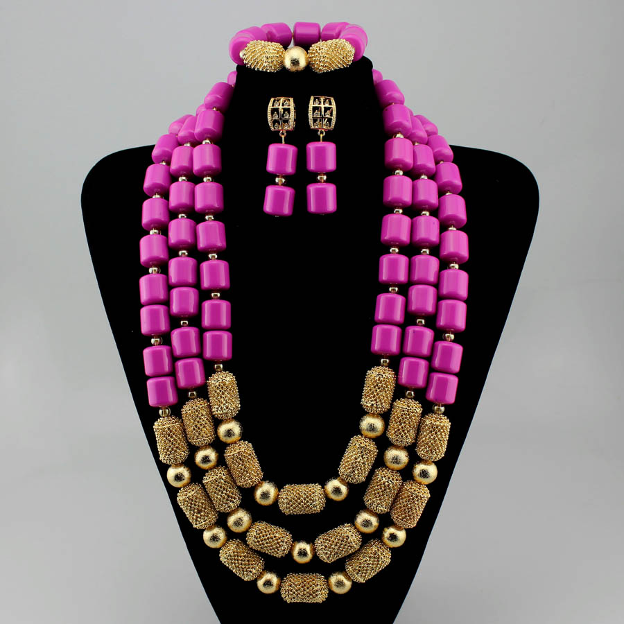 Luxury Nigerian Wedding Coral Beads Jewelry Sets Crystal Rhinestone Bib Necklace Earrings Set for Women Big bold african jewelry chic rhinestone african plate shape pendant necklace and earrings for women