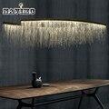 Современная алюминиевая цепь метеоритный душ светодиодный подвесной светильник для гостиничного зала ресторана столовой Серебряный креа...