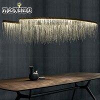 Современная алюминиевая цепь метеоритный душ светодиодный подвесной светильник для гостиничного зала ресторан столовая Серебряный креат
