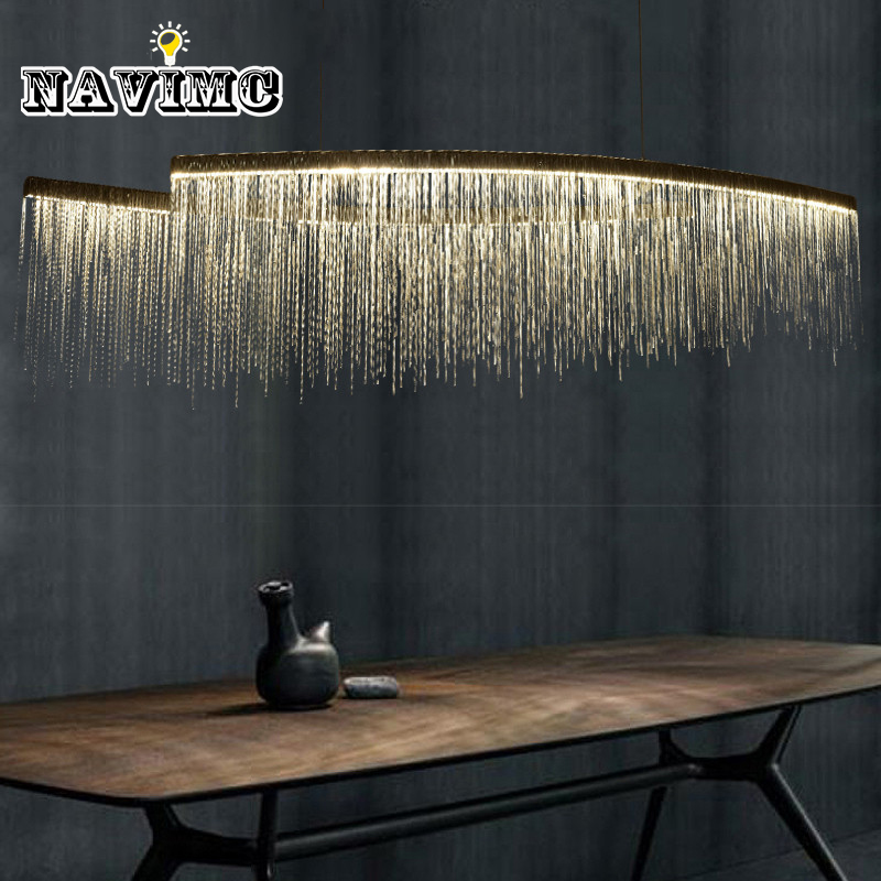 Corrente de alumínio moderno meteoro chuveiro led pingente luz para salão do hotel restaurante sala jantar prata criativo pendurado luminária