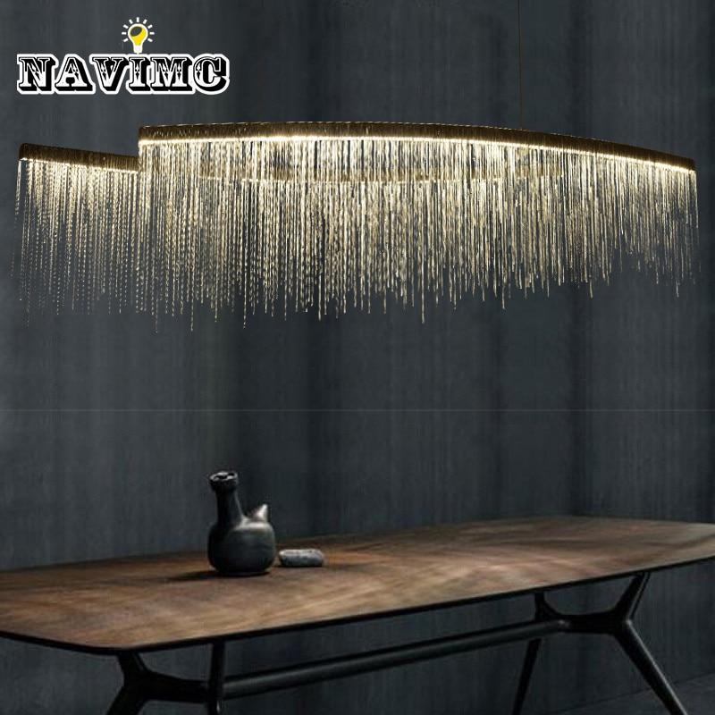 Moderna Cadena de aluminio Meteor Shower led luz colgante para Hotel Hall restaurante comedor plata creativa colgante lámpara colgante