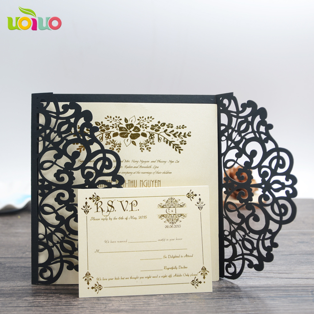 Elegant Design Royal Wedding Invitation Card For Europe Flower Lace White And Black Cards
