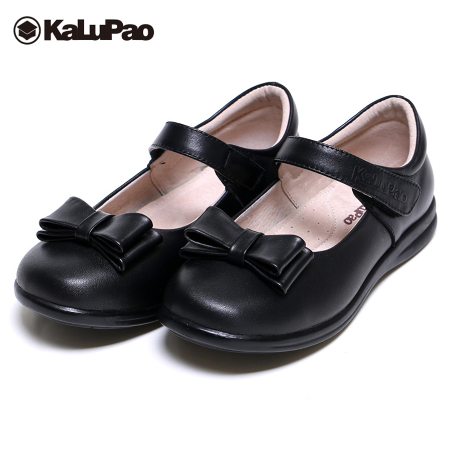 Kalupao Kids genuine Leather School Shoes for Girls Leather Dress Shoes Girls Flat with Footwear 2018 Butterfly uniform Shoes snowkimi2018 spring girl butterfly leather shoes leather breathable children flat heels dress shoes