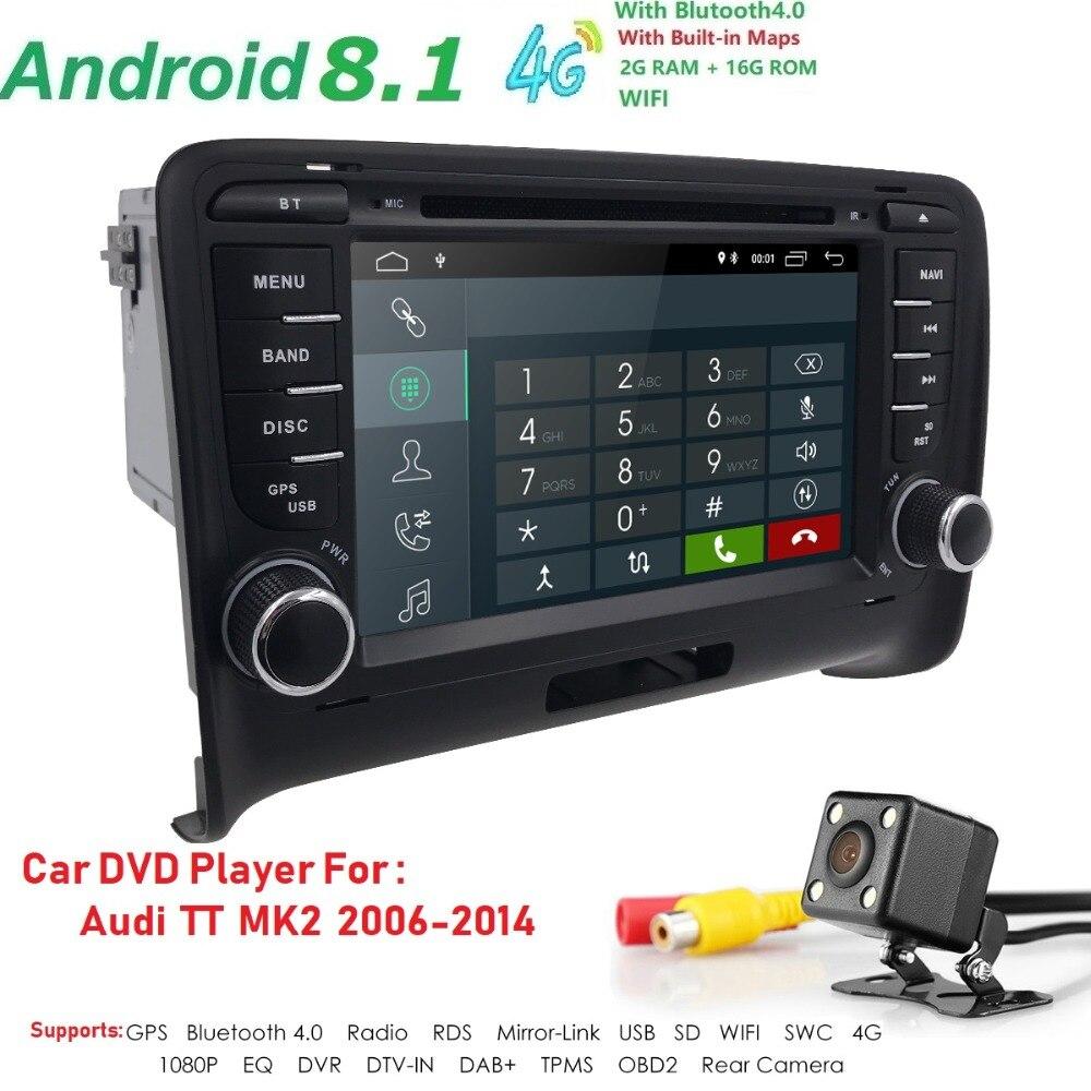 Android 8.1 HD 1024*600 voiture lecteur DVD Radio pour Audi TT MK2 2006-2014 4G WIFI GPS Navigation tête unité 2 din 2 gramme DVR SWC BT - 2